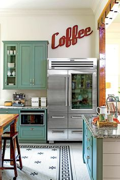 Southern Chef's Kitchen Who says industrial-grade appliances can't feel at home in a vintage kitchen?Feel It Feel It may refer to: Commercial Kitchen Design, Commercial Appliances, Country Kitchen, New Kitchen, Kitchen Ideas, Kitchen Tips, Bakery Kitchen, Kitchen Planning, Camping Kitchen