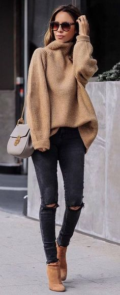 what to wear with a nude sweater : bag + ripped jeans + boots