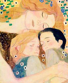 Frigga, curled up with Thor and Loki.