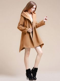 FINEJO 2014 New Fashion Irregular Lapel Trench Wool Blend Double Breasted Coat Jacket at Amazon Women's Coats Shop