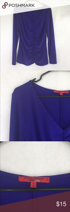 Narcisco Rodriguez for Design Nation Top (Sz XL) Narcisco Rodriguez for Design Nation Top (Sz XL); Ruched front; some softening & wear from use; snag on rear bottom (in photos); top is purple & appears blue in some light. Narciso Rodriguez Tops Blouses