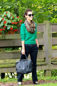 Green + Navy + Animal Print. Cheetah print patterned infinity scarf.