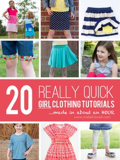 20 QUICK Girl Clothing Tutorials....made in about an hour! | via Make It and Love It