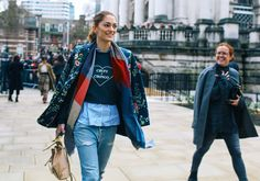Sofía Sanchez de Betak in a Topshop Unique blazer with a M2Malletier bag. London's Fall Fashion Week, Feb 2016