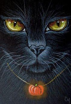 """Black Cat – Halloween"" par Cyra R. Cancel ""Black Cat – Halloween"" par Cyra R. Cancel This image has. Fröhliches Halloween, Halloween Painting, Halloween Pictures, Vintage Halloween, Halloween Black Cat, Gatos Cats, Photo Chat, Witch Cat, Illustration"