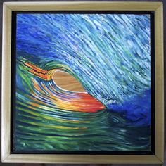 """An original oil painting on birch plywood.  11"""" x 11"""" Handmade floating style frame made of poplar wood.  13"""" x 13"""" . Inspired by a photo from Spencer Rowe."""