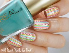 Will Paint Nails for Food: The Neverending Pile Challenge: Day 7, Drugstore Polish: Crazy, Colourful Stripes