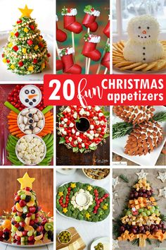 CHRISTMAS APPETIZERS: A roundup of 20, creative and fun holiday appetizers for your Christmas or holiday party. Fun food crafting. Best Christmas Appetizers, Christmas Potluck, Appetizers For Kids, Christmas Party Food, Christmas Goodies, Christmas Treats, Holiday Treats, Christmas Fun, Holiday Recipes