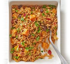 This rice-based recipe makes a delicious vegetarian dinner option or flavour-packed side dish, with butternut pumpkin, tagine spices and crispy onions. Bbc Good Food Recipes, Veggie Recipes, Indian Food Recipes, Asian Recipes, New Recipes, Cooking Recipes, Veggie Food, Food Food, Vegetarian Dinners