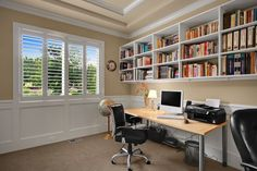 Modern Home Office with High ceiling, Crown molding, Ikea vilgott nominell desk chair, Wainscoting, Ikea adils table leg