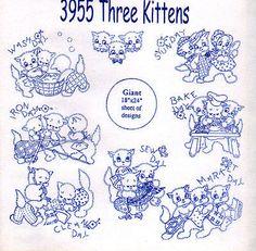 NEW Aunt Martha Kitchen Towel Designs - THREE KITTENS - Transfer Patterns