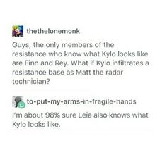 I'm about 98% sure Leia also knows what Kylo looks like. <<< She would know, but be in a bit of a shock for seeing her son all grown up for the first time. Ever thought of that? No you didn't because you were to busy thinking about how this post would turn out.