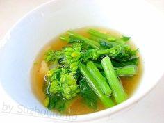 「ほんのり甘い「かき菜」の卵スープ」頂き物の「かき菜」をたくさん茹でたので卵スープに。アッサリしてるのに、ほんのり優しい味です。「かき菜」の甘味が卵スープに合ってます(^0^)/【楽天レシピ】