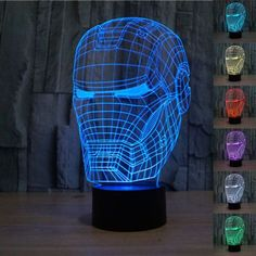 Creative Iron Man 3D LED Light Lamp - Illuminates in 7 colors: (press the button to change the colors). - 7 Color Changeable: Red, Green, Blue, Yellow, Cyan, Pink, White Automatically color changing m