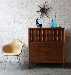 Eames DAX chair, Kent-Coffey Perspecta Series highboy dresser. via