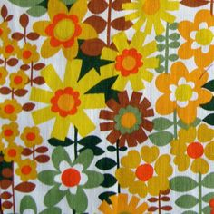 Vintage Retro Fabric Remnant Scrap for Cushions, Pillow or Patchwork - Golden Yellow and Orange Mod Floral Screenprint