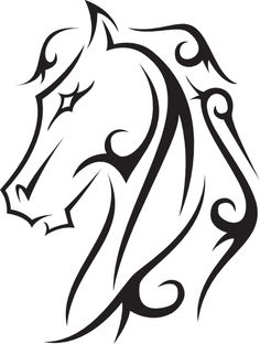 Line drawings hoeses | Horse Tattoo clip art - vector clip art online, royalty free & public ...