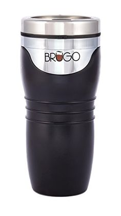 Brugo New 3rd Generation Leak Proof Brugo Travel Mug with BuiltIn Temperature Control Chamber, BPA Free, Midnight Black