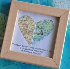 Gift for Boyfriend Long Distance Map Heart with Custom от ekra