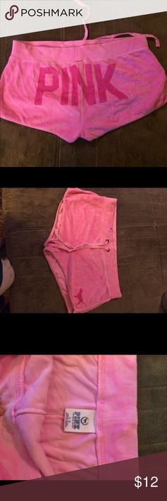 Victoria's Secret pink velour shorts Gently worn PINK Victoria's Secret Shorts