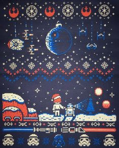 Star Wars Christmas, Wntertime Needlepoint, (This would be an awesome christmas sweater in faire isle).