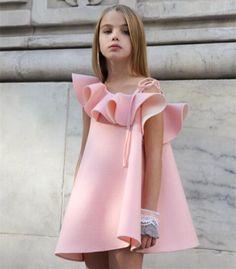 Wish | One Shoulder Girls Falbala Party Dress Child Kids Princess Dress