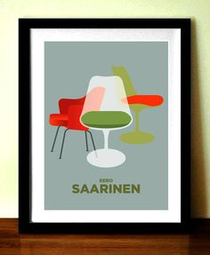 Wall Art Poster EERO SAARINEN Art Decor Chairs par visualphilosophy