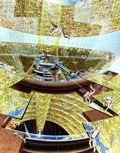 Bernal Spheres  Population: 10,000. The Bernal Sphere is a point design with a spherical living area. Construction crew at work on the colony. Art work: Don Davis.