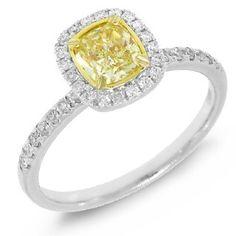 1 01TCW 14k White Gold 100 Natural Fancy Yellow Cushion Cut Diamond Ring