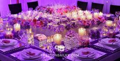candles crystals dining flowers table setting color|purple color|red color|violet