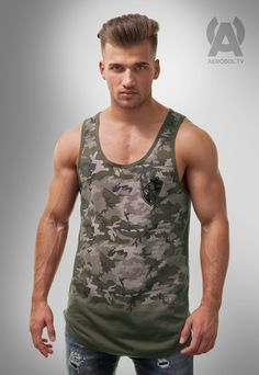 Camo front long tank, army