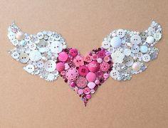 Winged Heart Flying Heart Buttons & Swarovski by BellePapiers, $84.00