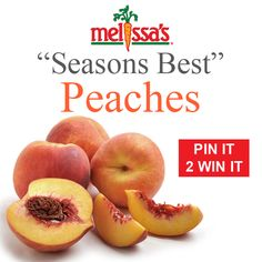 Here we go!  Seasons Best Peaches are up for grabs in July's Pinterest Contest from Melissa's!    Just Re-Pin this photo and you could win some Fresh, Juicy, Seasonal Peaches.  Good Luck!