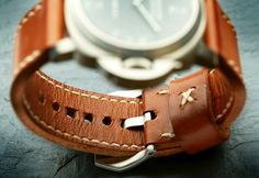 Panerai 177 on Caramel leather with natural stitching. © Duncan Snow