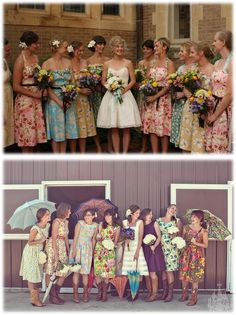 I love the mismatched bridal party fashion in weddings.  These are both vintage inspired bride and bridesmaid dresses.