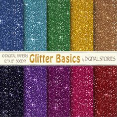 Glitter Digital Paper GLITTER BASICS Colorful by DigitalStories, €2.60