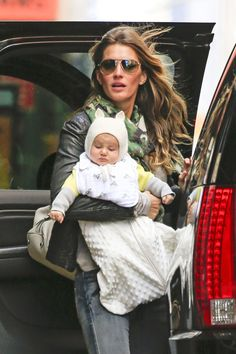 Gisele Bundchen with baby daughter Vivian Brady in the West Village in New York City