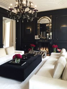 Black/White decor black and white living room decor, black living room White Living Room, Home And Living, Elegant Homes, Glam Living Room, Elegant Home Decor, Home Decor, House Interior, Modern Glam Living Room, White Decor