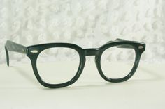 Vintage 60s Mens Glasses 1950s Black Eyeglasses American Optical Squared G Man 48/24 Original Authentic Large Size Frame