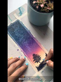 Watercolor Art Lessons, Watercolor Paintings For Beginners, Watercolor Video, Watercolor Landscape, Art Drawings Sketches Simple, Pencil Art Drawings, Watercolor Bookmarks, Diy Bookmarks, Mini Canvas Art