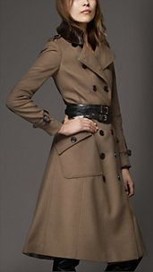 Shearling Collar Wool Cashmere Coat - Burberry