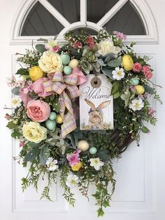 RESERVED listing for Anita Decorate for the Easter holiday with this gorgeous mixture of spring flowers in beautiful pastels. Roses, ranunculus, morning glory, blue hydrangea and meadow flowers make a rich and inviting design, enhanced by a beautiful mix of foliages. Easter eggs,