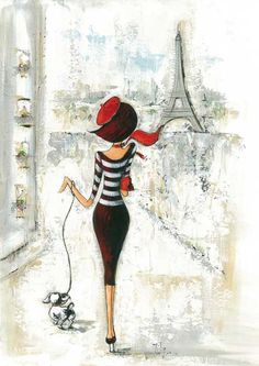 "Fashion Illustrations Parisian 'Girl' - Beautiful art print Vintage Parisian Print ""Je Taime"" Art Image Wall Decor UnframedPrint is Unframed x Ready for framing . Professionally printed on medium weight cardstock Art And Illustration, Decoupage, Tour Eiffel, I Love Paris, Paris Girl, Art Reproductions, Art Images, Fashion Art, Dog Fashion"