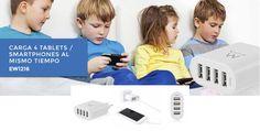Carga hasta 4 dispositivos móviles al mismo tiempo