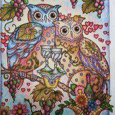 #adultcoloring #prismacolors #pastels #creativehaven #owls #marjoriesarnat