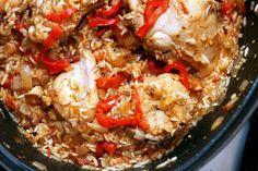 The BEST arroz con pollo recipe in the world.  Try to use a good belgian-style white beer like Great Divide's Colette.