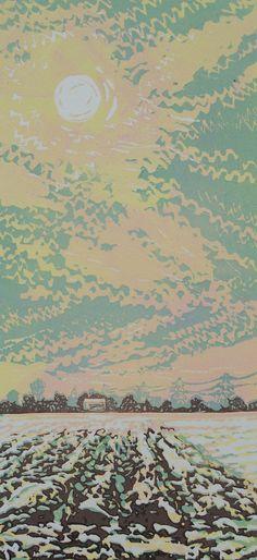 """""""Winter Sky"""" linocut by Louise Stebbing"""