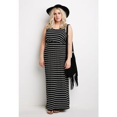 Forever 21 Plus Women's  Striped Maxi Dress ($13) ❤ liked on Polyvore featuring plus size fashion, plus size clothing, plus size dresses, full length dress, striped maxi dress, stripe dress, full length black dress and black sleeveless dress