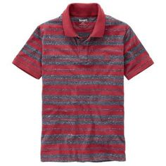 Timberland Men's Essential Striped Polo Shirt Tibetan Red