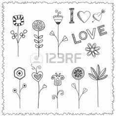 Mano doodle conjunto de flores photo